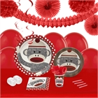 Sock Monkey Red 16 Guest Tableware & Deco Kit