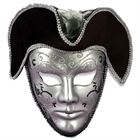Venetian Mask Silver W/Headpiece