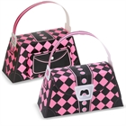 Pink and Black Argyle Empty Favor Purses (4)