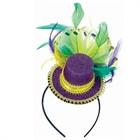 Mardi Gras - Feathered Mini Hat Headband