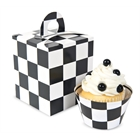 Black & White Checked Cupcake Boxes
