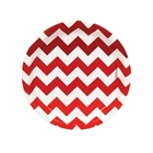 Red Chevron Dessert Plates (8)