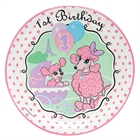 Pink Poodle in Paris 1st Birthday Dinner Plates (8)