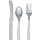 Silver Plastic Forks, Knives and Spoons (8 each)