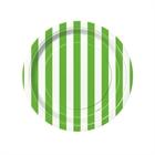 Lime Green Stripe Dessert Plates (8)