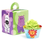 Safari Friends Cupcake Wrapper & Box Kit