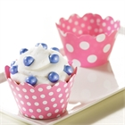 Pink and White Polka Dots Reversible Cupcake Wrappers (12)
