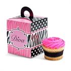 Diva Zebra Print Cupcake Boxes