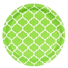 Lime Green Quatrefoil Dinner Plates (8)