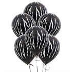 Zebra Stripes Black Latex Balloons (6)