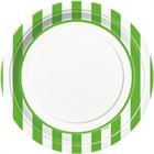 Lime Green Stripe Dinner Plates (8)