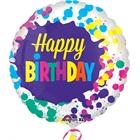 Happy Birthday Splatters Foil Balloon