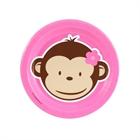 Pink Mod Monkey Dessert Plates (8)
