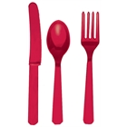 Red Plastic Cutlery (24)