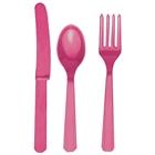 Bright Pink Plastic Silverware (24)