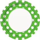 Green and White Dots Dinner Plates (8)