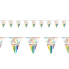 Rainbow Birthday Party Flag Banner