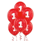 Red with #1 Matte Balloons (6)