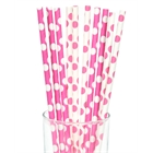 Pink and White Dot Paper Straws (10)