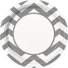 Chevron Silver Dinner Plates (8)