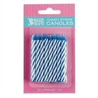 Blue Stripe Birthday Candles (24)