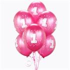Magenta #1 Balloons (6)