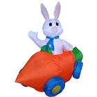 Easter Bunny in a Carrot Car Inflatable Lawn Décor (4 Feet Tall)