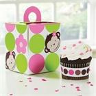 Pink Mod Monkey Cupcake Boxes (4)