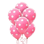 Hot Rose and White Dots Latex Balloons (6)