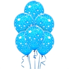 Blue and White Stars Latex Balloons (6)
