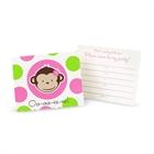 Pink Mod Monkey Invitations (8)