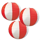 Red & White Striped Round Paper Lanterns (3)