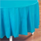 Turquoise Round Plastic Tablecover