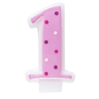 Pink #1 Candle with Polka Dots