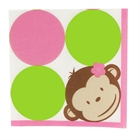 Pink Mod Monkey Lunch Napkins (16)