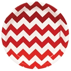 Red Chevron Dinner Plates (8)