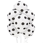 White and Black Dots Latex Balloons (6)