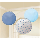 Blue Paper Lanterns Assorted (3)