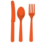 Orange Forks, Knives and Spoons (8 each)