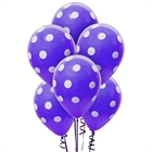Purple and White Dots Latex Balloons (6)